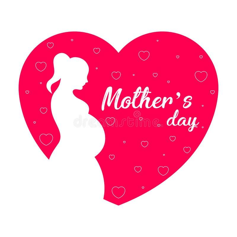 Sylwetka mama w sercu Macierzysty dzień ilustracji