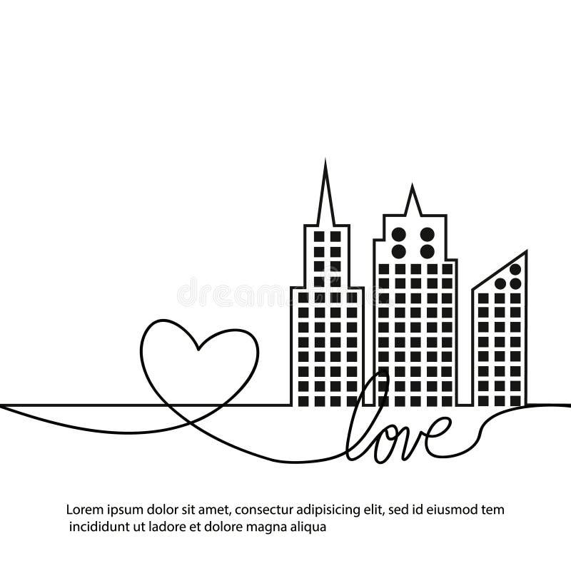Sylwetka, miłość w ciągłym rysunku i wykładamy w płaskim stylu krajobrazowy nowożytny miastowy wektor ilustracji