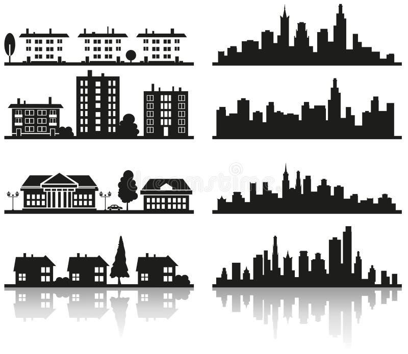 Sylwetka miasto ilustracji