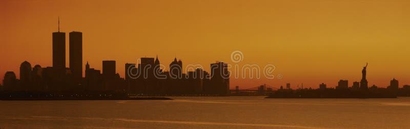 Sylwetka Miasto Nowy Jork linia horyzontu obrazy royalty free