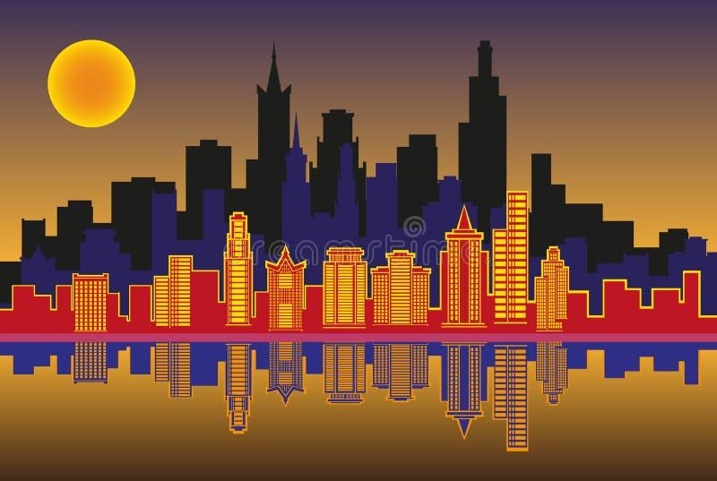Sylwetka miasto przy nocą ilustracji