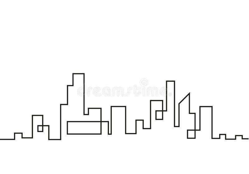 Sylwetka miasto w płaskim stylu krajobrazowy nowożytny miastowy ściągania ilustracj wizerunek przygotowywający wektor Miasto drap royalty ilustracja