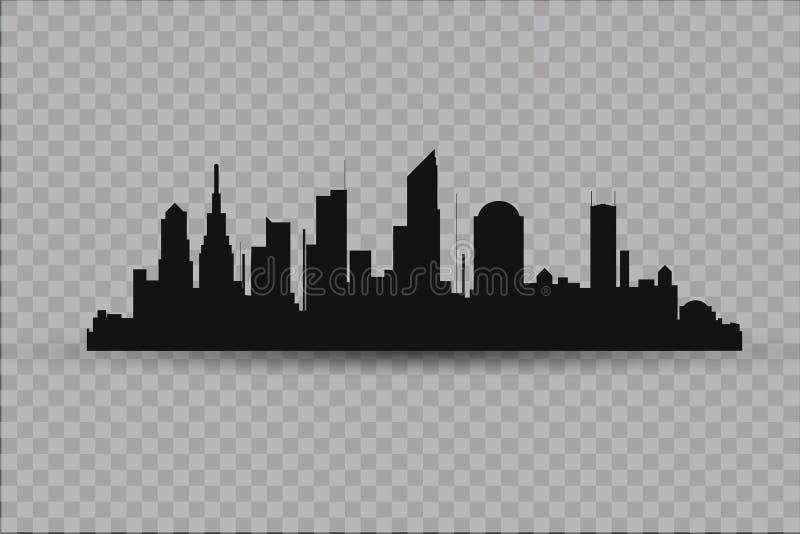 Sylwetka miasto w płaskim stylu krajobrazowy nowożytny miastowy ilustracja royalty ilustracja