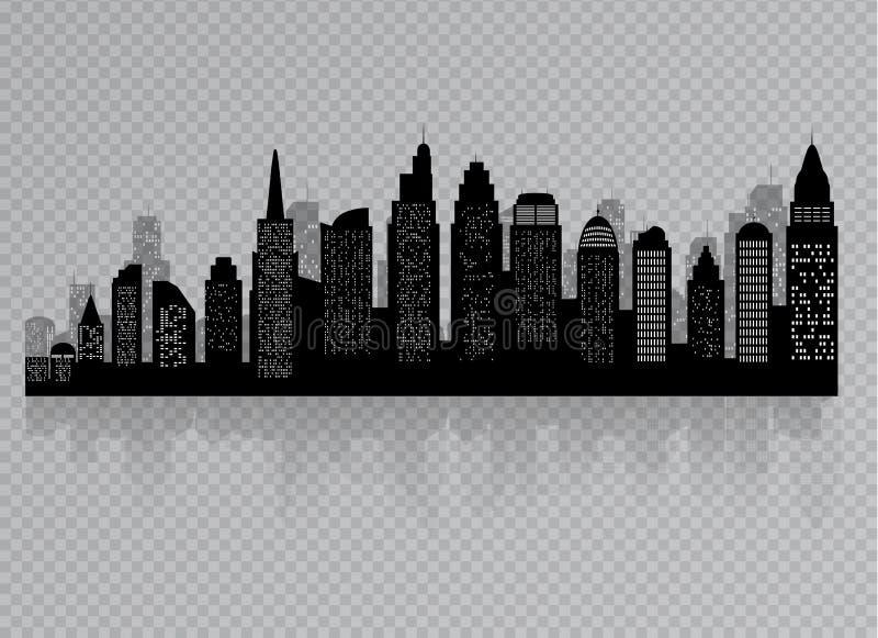 Sylwetka miasto z czarnym kolorem na bia?ym tle w p?askim stylu krajobrazowy nowo?ytny miastowy ilustracja wektor