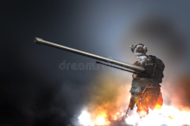 Sylwetka militarna żołnierz broń i cysternowy płomienia explotion ogień dymimy ilustrację ilustracja wektor