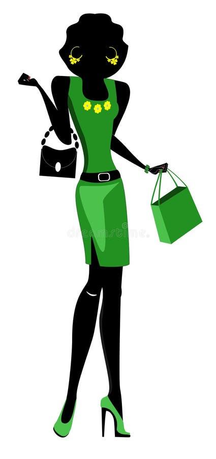 Sylwetka mody dziewczyna z torbami ilustracji