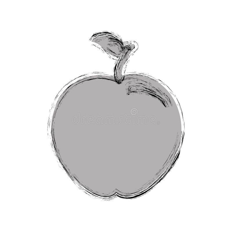 Sylwetka monochromu zamazana jabłczana owoc ilustracja wektor