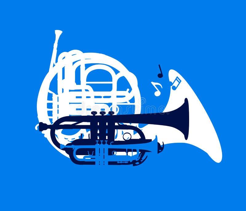 Sylwetka muzykalni wiatrowi instrumenty, festiwal jazzowy karta, wektorowa ilustracja ilustracji