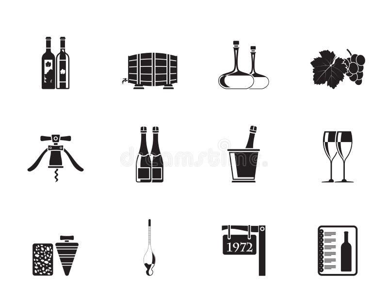 Sylwetka napoju i wina ikony ilustracji