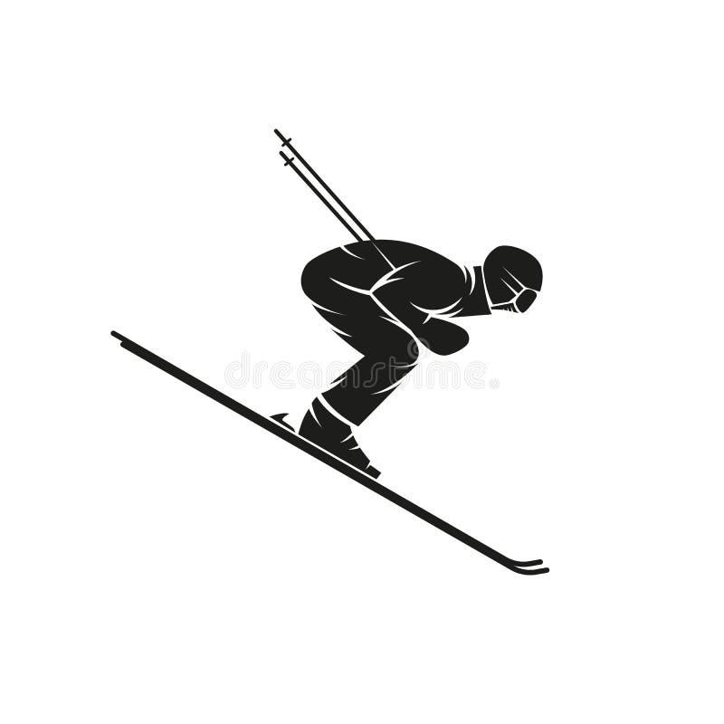 Sylwetka narciarka zjazdowa na narta puszku stromy wzgórze, krańcowy slalomowy zima sporta logo, koszulka druku emblemata mockup royalty ilustracja