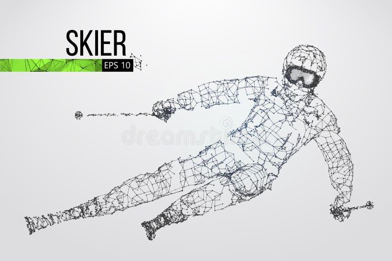 Sylwetka narciarki doskakiwanie odizolowywający również zwrócić corel ilustracji wektora