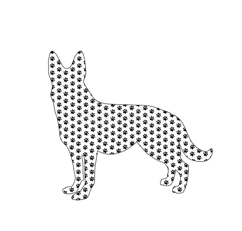 Sylwetka niemiecka baca wypełniał z czarnego psa łapy drukami ilustracja wektor