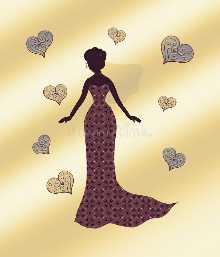 Sylwetka nikła kobieta w pięknej sukni z tupoczącym ilustracja wektor