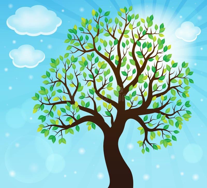 Sylwetka obfitolistny drzewny temat 2 ilustracja wektor