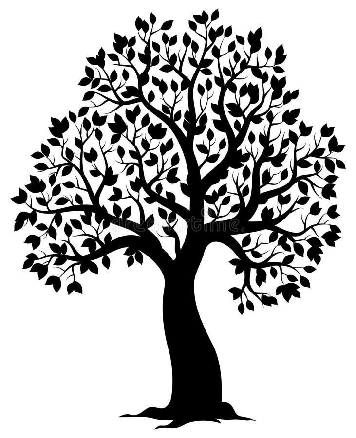 Sylwetka obfitolistny drzewny temat 3 royalty ilustracja