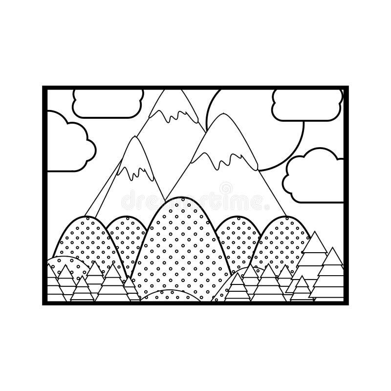 Sylwetka obrazek krajobraz z liniami i punktami ilustracja wektor