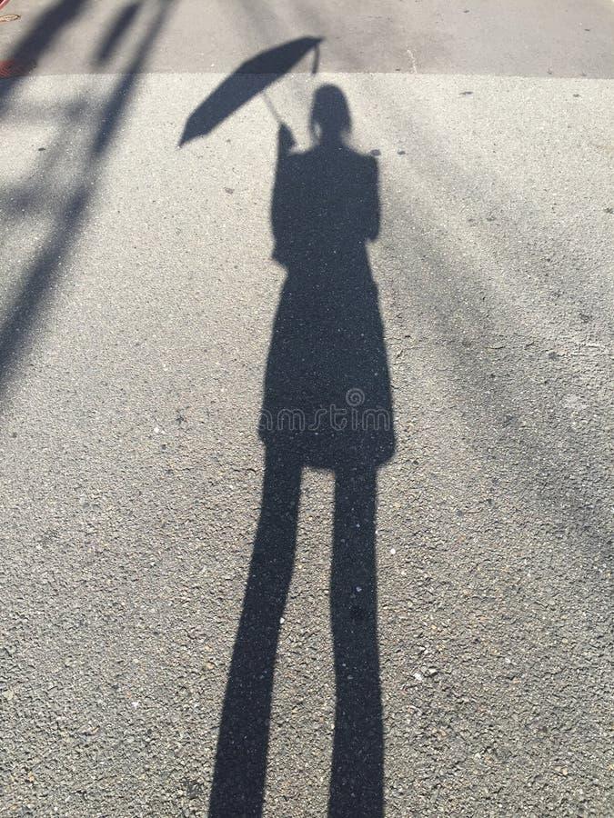 Sylwetka obrazek który trzyma jej parasol kobiety obraz royalty free