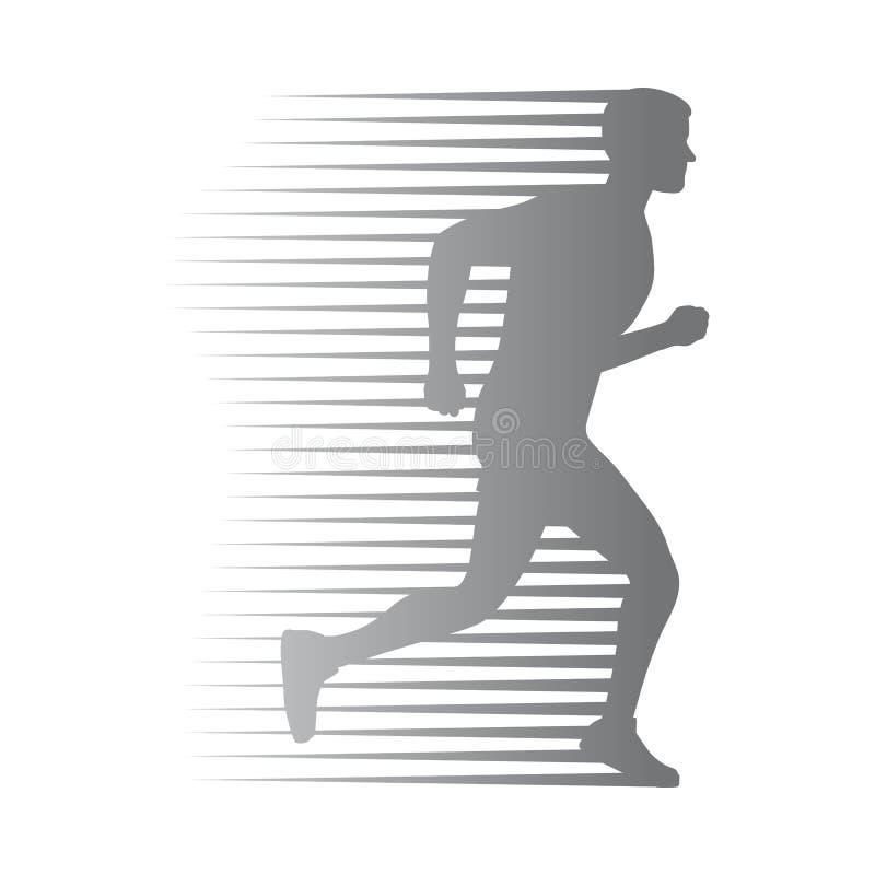 Sylwetka Odosobniony mężczyzna bieg z chodzenie liniami royalty ilustracja