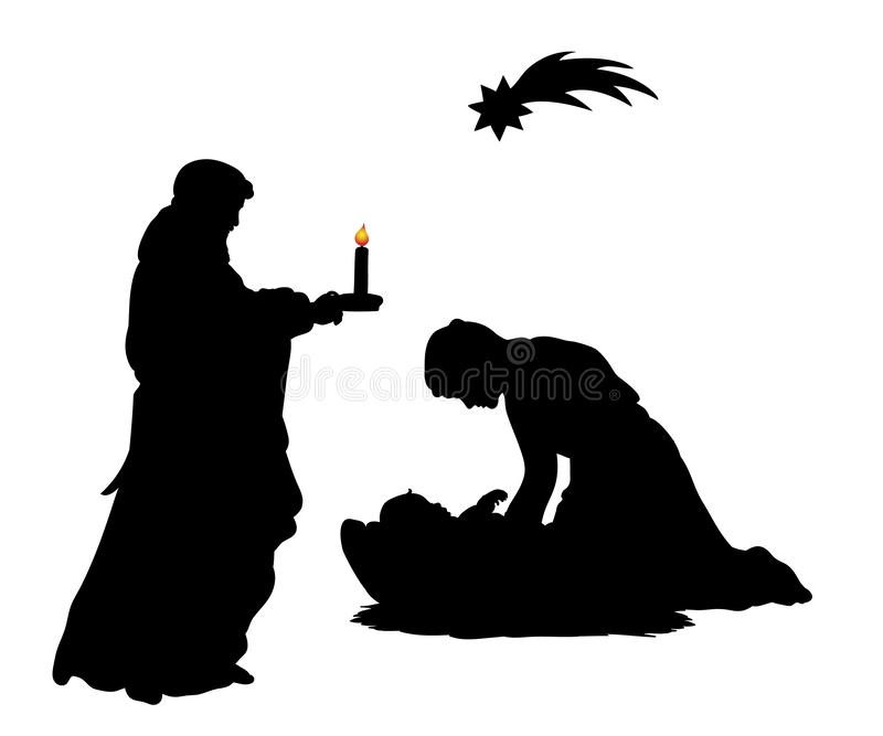 Sylwetka ojca Joseph Bożenarodzeniowa rodzinna mama Maria z dzieckiem Je ilustracji