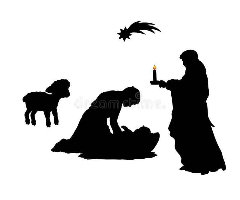 Sylwetka ojca Joseph Bożenarodzeniowa rodzinna mama Maria z dzieckiem Je ilustracja wektor