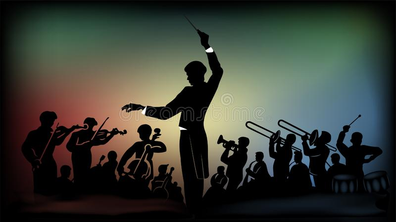 Sylwetka orkiestra na kolorowym tle i skarbniczka royalty ilustracja