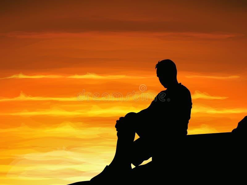 Sylwetka osamotniony mężczyzna siedzi samotnie gdy zmierzch ilustracji