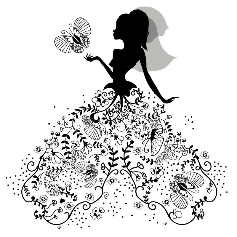 Sylwetka panna młoda z motylem ilustracja wektor