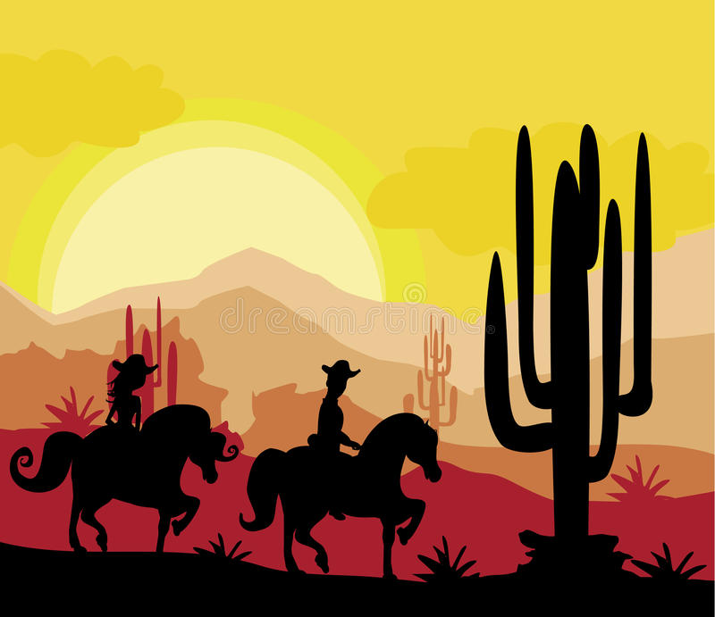 Sylwetka para jedzie konie podczas zmierzchu royalty ilustracja