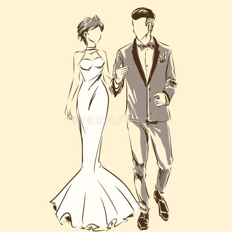 Sylwetka para, państwo młodzi, ślub, narzeczony, smoking royalty ilustracja