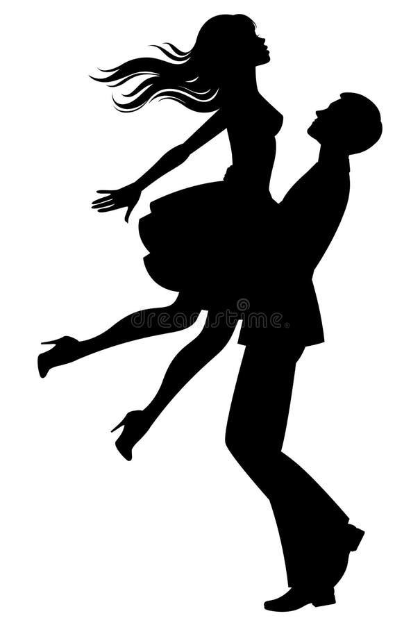 Sylwetka para w miłości ilustracji