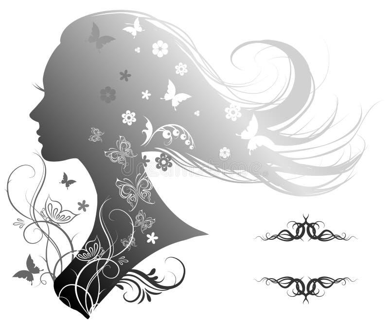Sylwetka piękna kobieta z długie włosy royalty ilustracja