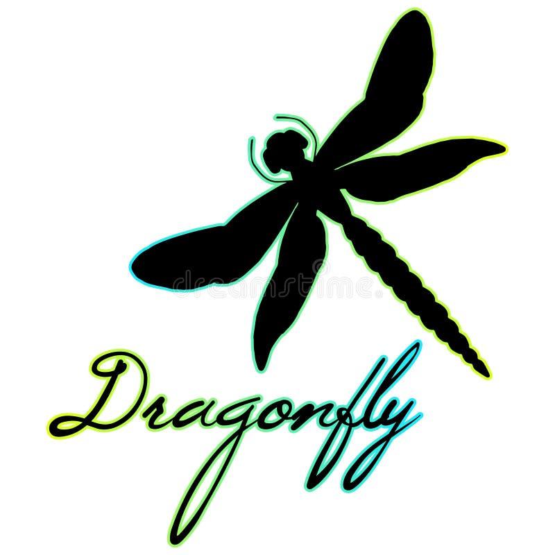 Sylwetka piękny dragonfly z znakiem Odizolowywający na bielu ilustracja wektor