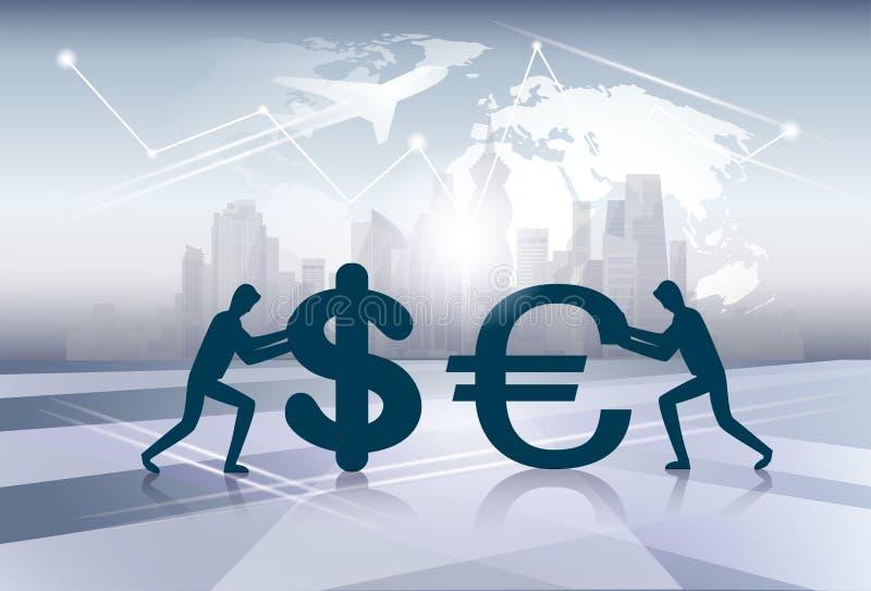 Sylwetka pieniądze wymiany Finansowego pojęcia ludzie biznesu ilustracji