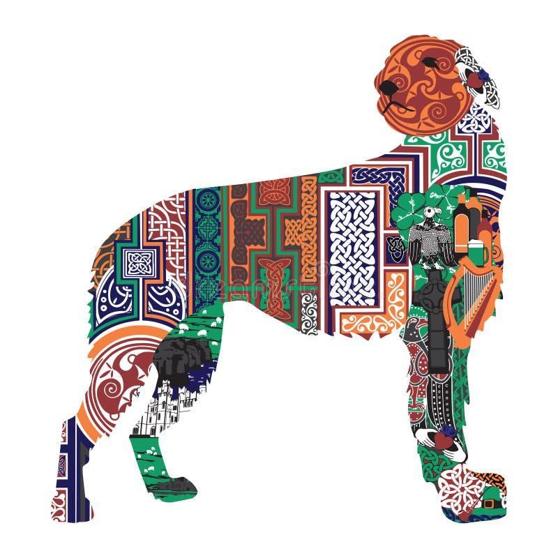 Sylwetka pies z Irlandzkimi projektami ilustracja wektor