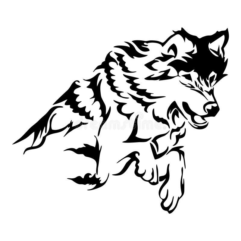 Sylwetka plemienna wznosi się wilczego doskakiwanie tatuaż royalty ilustracja