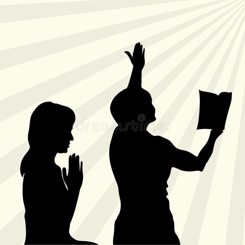 Sylwetka pochwała i cześć bóg ilustracja wektor