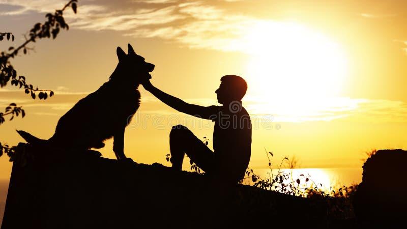Sylwetka profil mężczyzny i psa obsiadanie przed each inny na naturze, chłopiec kares jego zwierzę domowe przy zmierzchem w polu, zdjęcie royalty free