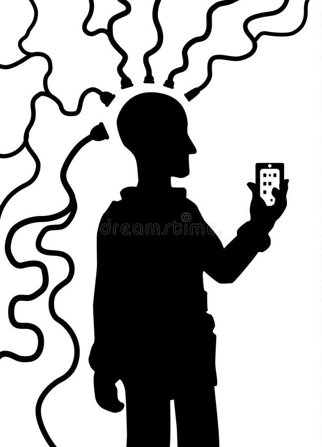 Sylwetka przyrządu umysł Łączy ilustracja wektor