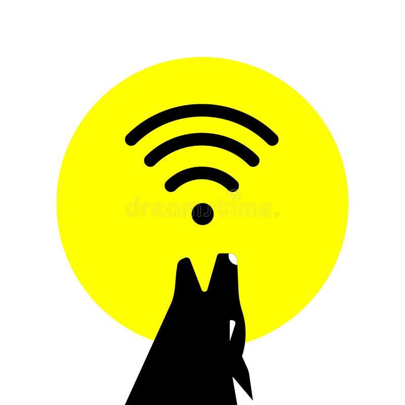 Sylwetka psa księżyc w pełni z sygnałem fi i wyć Wektoru interneta fi bezpłatny sygnał dziki wilk ilustracja wektor