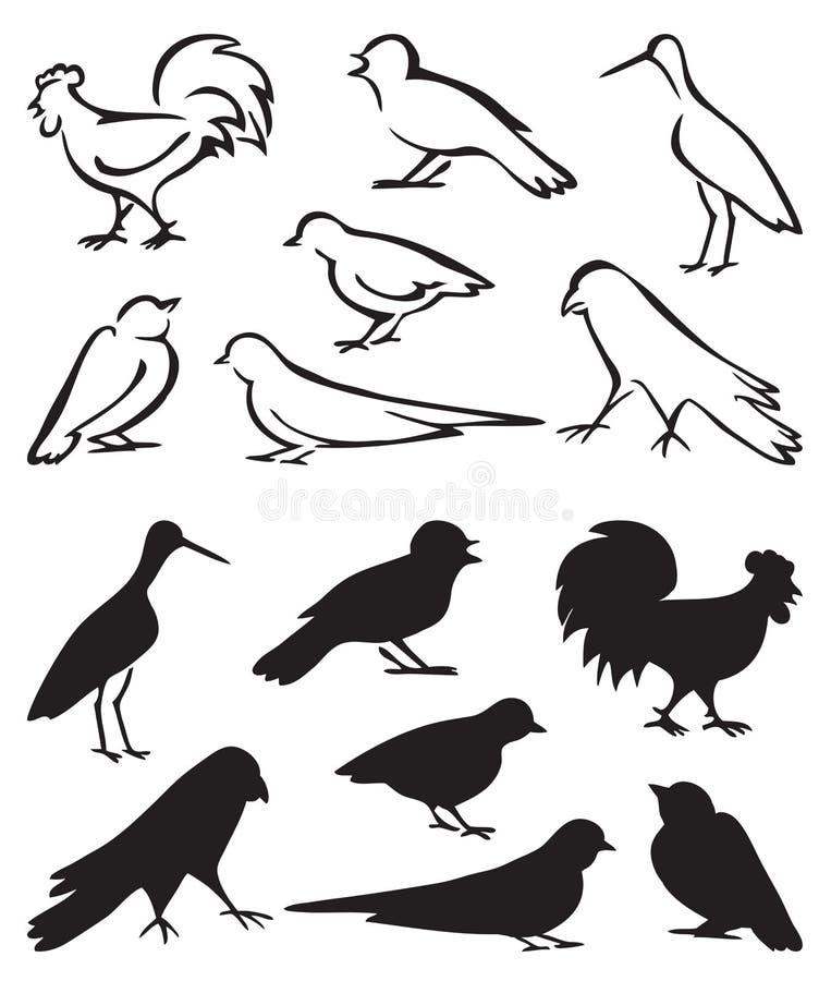 Sylwetka ptaków siedzieć ilustracji