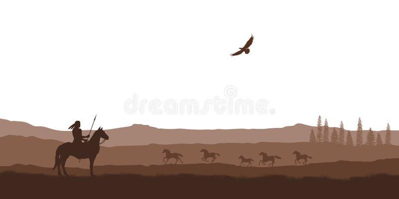 Sylwetka pustynia z hindusem na koniu Naturalna panorama pustkowie sceneria amerykanina krajobraz Przyrody scena ilustracji