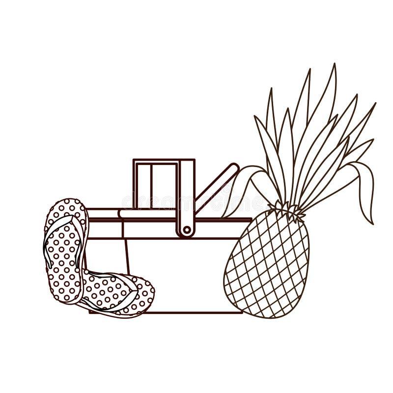 Sylwetka pykniczny kosz z tropikalnymi owoc ilustracji