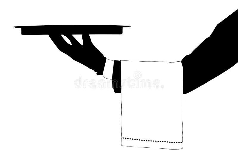 Sylwetka ręka target124_1_ tacę royalty ilustracja