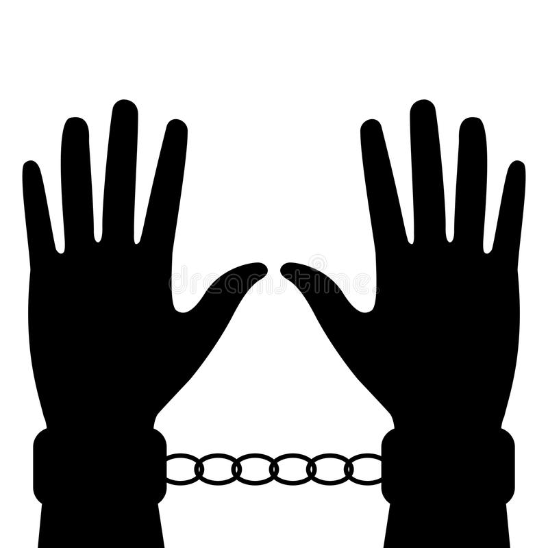 Sylwetka ręki w kajdankach ilustracja wektor