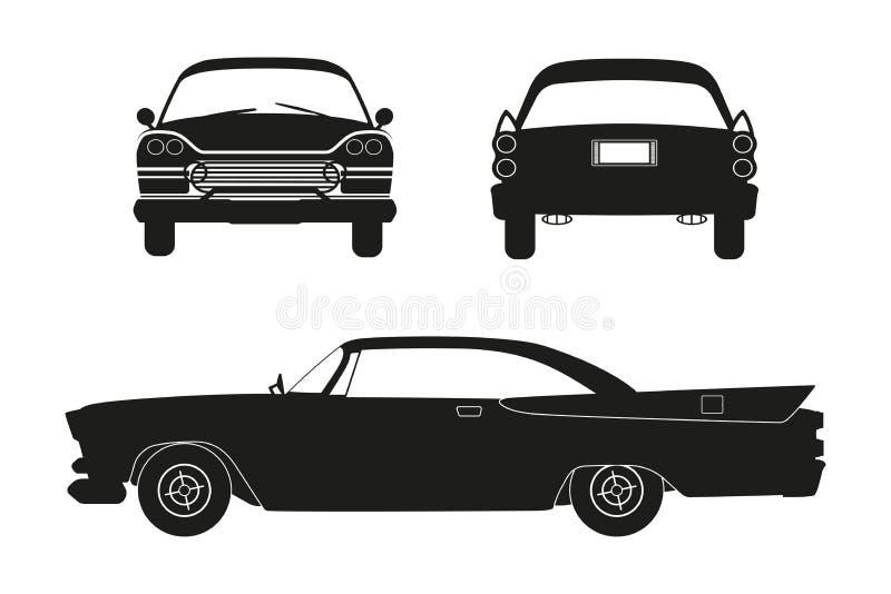 Sylwetka retro samochód Rocznika kabriolet Przód, strona i tylny widok, ilustracji