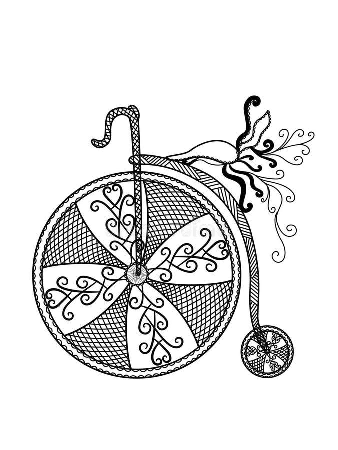 Sylwetka rocznika bicykl na białym tle ilustracji