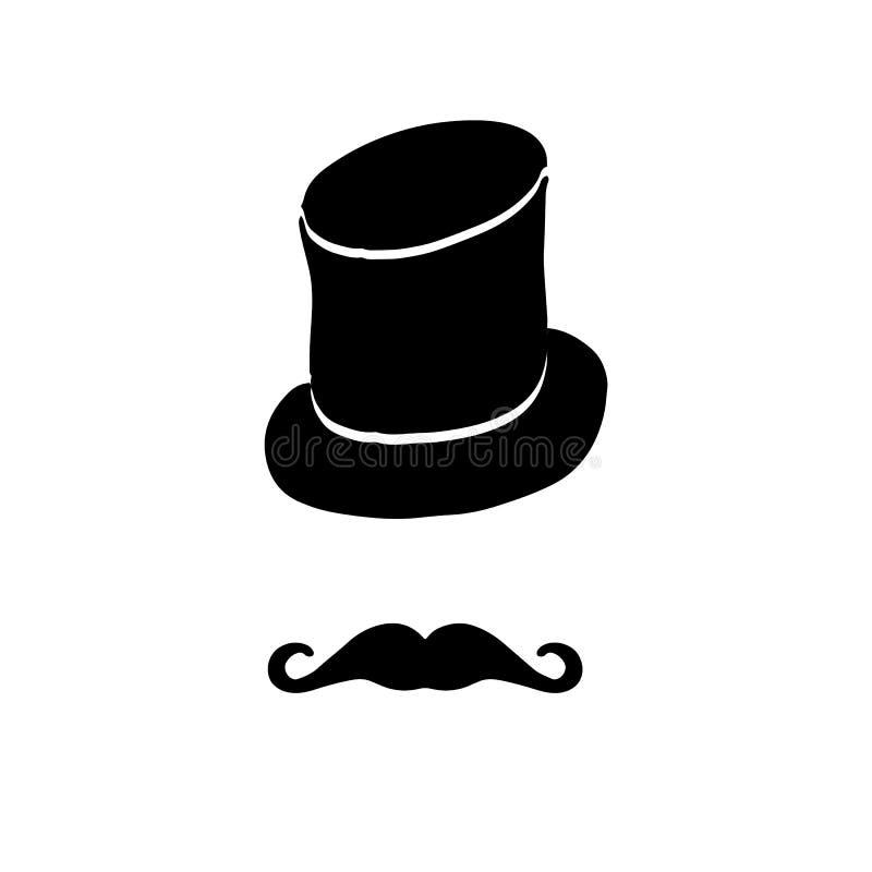 Sylwetka rocznika kapelusz i ilustracja wektor