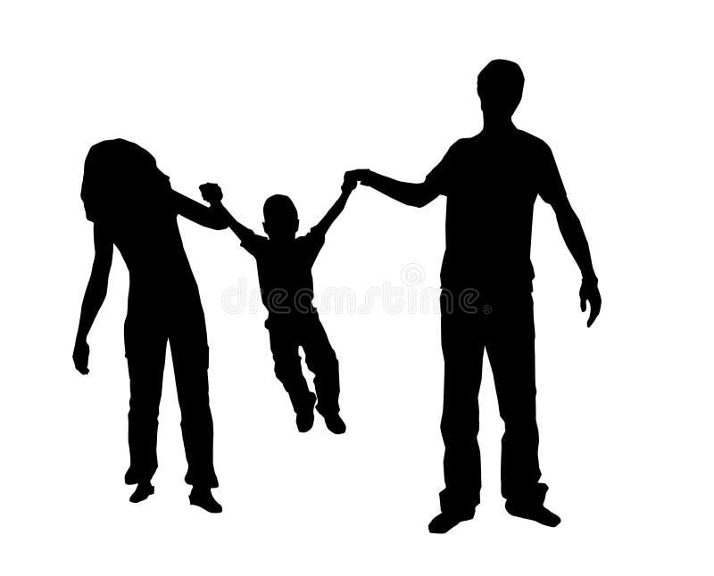 sylwetka rodzinna royalty ilustracja