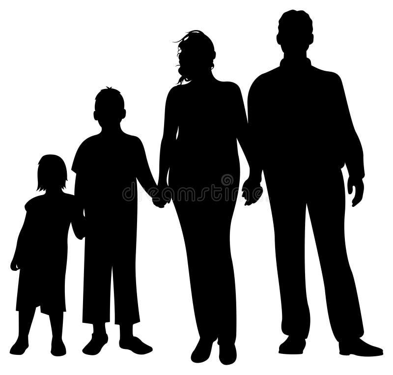 sylwetka rodzinny wektor
