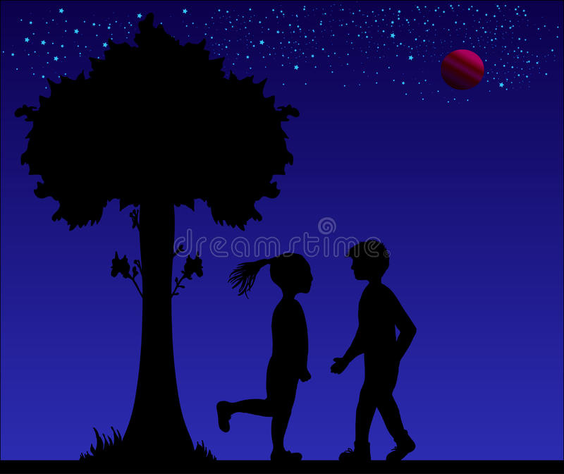 Sylwetka romantyczna para przy nocą Wektorowa ilustracja kochankowie słodki zdjęcia stock